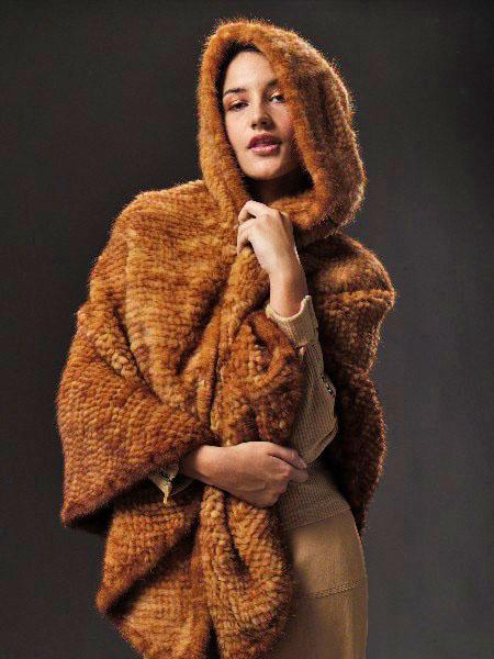 Knitted mink cape w/hood
