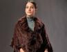 Knit mink shawl w/pockets & ruffles