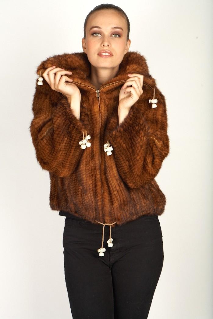 Knitted Whiskey Mink Zipper Jacket