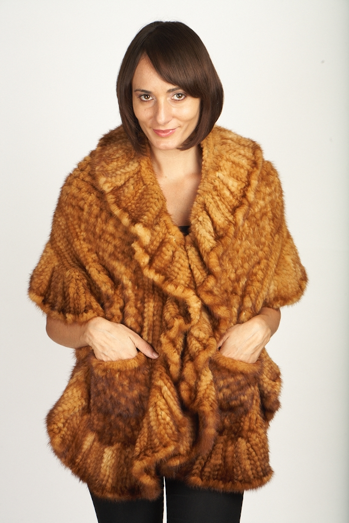 Large Knitted Whiskey Mink Shawl W/Ruffles