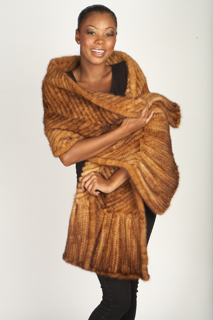 Knitted Whiskey Mink Throw