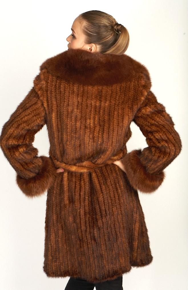 Knitted Whiskey Mink Coat W/Fox