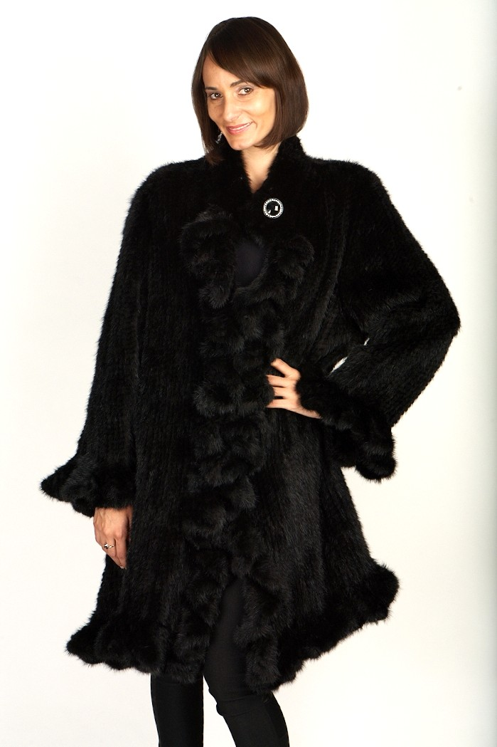 Knitted Black Mink Coat W/Ruffles