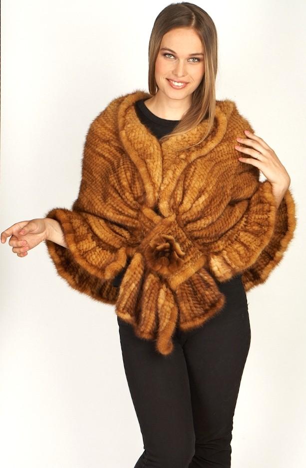 95lLarge Knitted Whiskey Mink Shawl