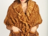 Large Knitted Whiskey Mink Shawl W/Ruffles