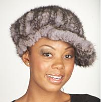 blue iris knittedmink hat