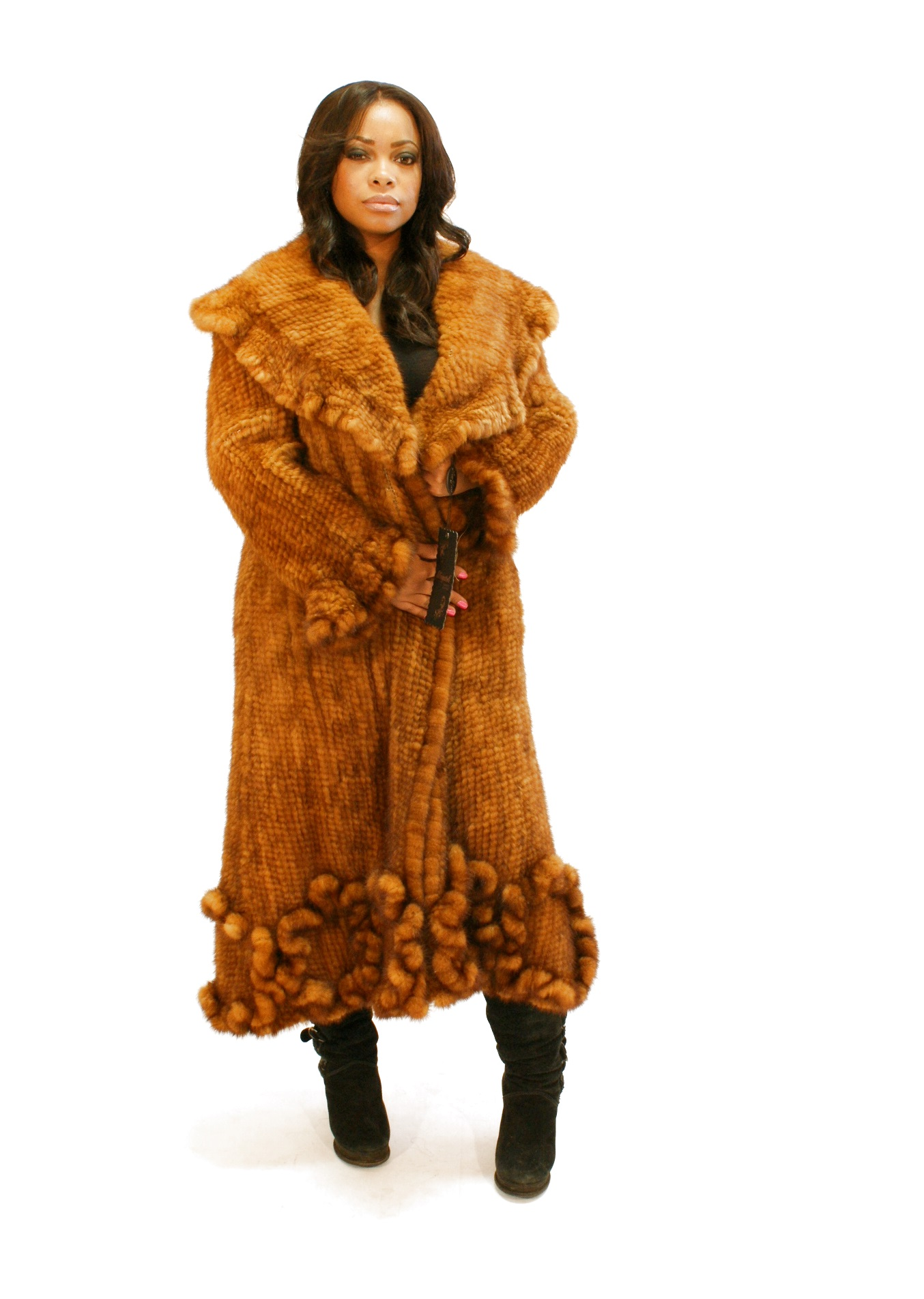 Mink Coat Value >> Ladies Knitted Whiskey Mink Fur Coat Golden Woven Furs Medium BNWT | eBay