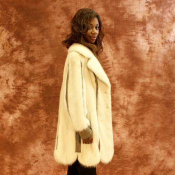 White Mink Scalloped Jacket 016791