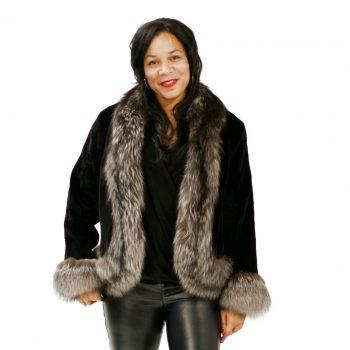 Black Sheared Mink Jacket Silver Fox Trim 017619