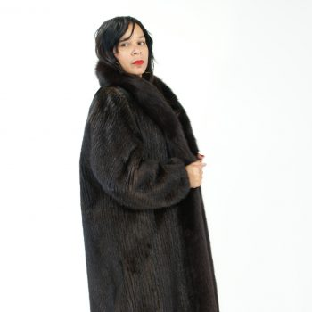 Corded Mahogany Mink Coat W/ Fox 017707