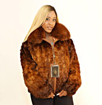 Whiskey Mink Jacket Fox Collar