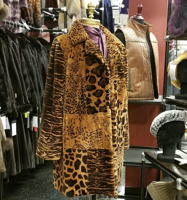 Stenciled Sheared Beaver 3/4 Coat