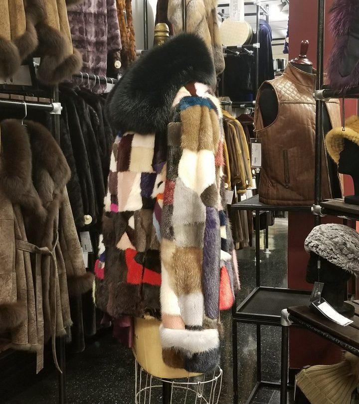 multi-color mink jacket w/fox