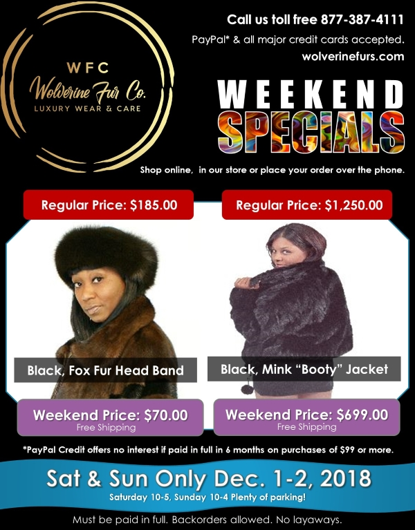 dcf2000e2a39b WFC Weekend Special Black mink Booty Jacket black fox fur headband
