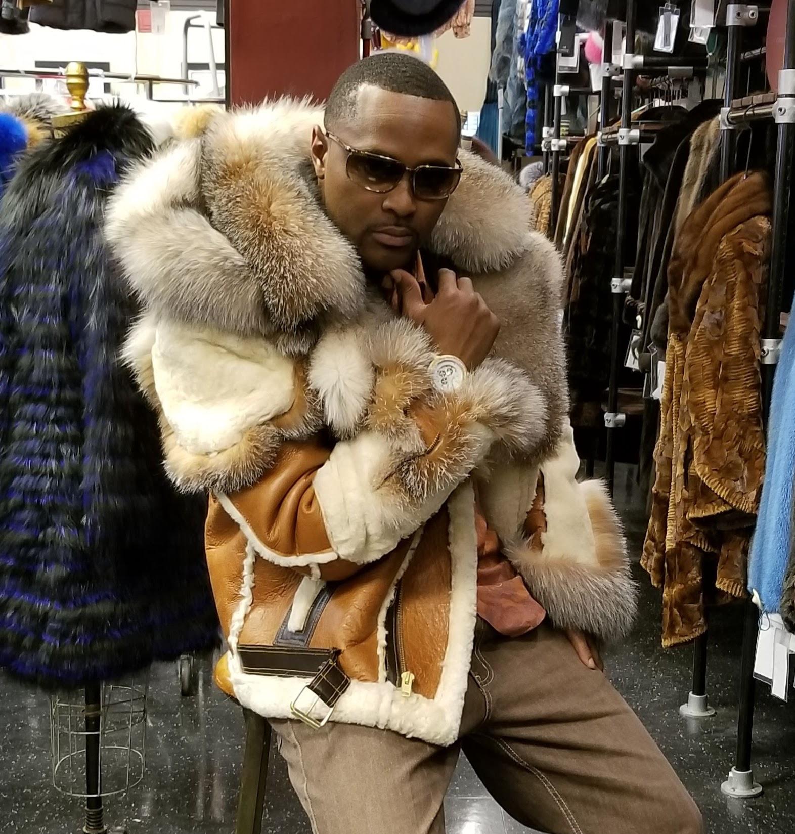bdf1a82ef Mens Hooded Shearling Jacket Crystal Fox Trim DLNYC - Maino
