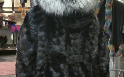 ca8146185d74 Black Mink Hooded Jacket Fox Trim